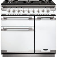 Rangemaster Elise ELS90DFFWH 90cm Dual Fuel Range Cooker - White/Brushed Chrome Trim