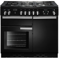 Rangemaster Professional Plus PROP100NGFGB/C 100cm Gas Range Cooker - Black/Chrome Trim