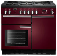 Rangemaster Professional Plus PROP100NGFCY/C 100cm Gas Range Cooker - Cranberry/Chrome Trim