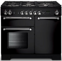 Rangemaster Kitchener KCH100NGFBL/C 100cm Gas Range Cooker - Black/Chrome Trim