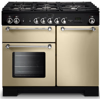 Rangemaster Kitchener KCH100NGFCR/C 100cm Gas Range Cooker - Cream/Chrome Trim