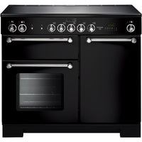 Rangemaster Kitchener KCH100ECBL/C 100cm Electric Range Cooker with Ceramic Hob - Black/Chrome Trim