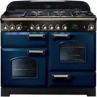 Rangemaster Classic Deluxe CDL110DFFRB/B 110cm Dual Fuel Range Cooker - Blue/Brass Trim