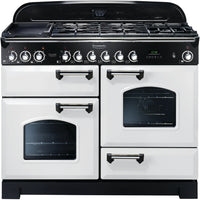 Rangemaster Classic Deluxe CDL110DFFWH/C 110cm Dual Fuel Range Cooker - White/Chrome Trim