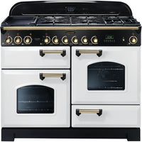 Rangemaster Classic Deluxe CDL110DFFWH/B 110cm Dual Fuel Range Cooker - White/Brass Trim