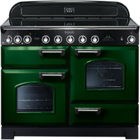 Rangemaster Classic Deluxe CDL110EIRG/C 110cm Electric Range Cooker with Induction Hob - Green/Chrome Trim