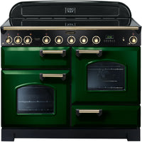 Rangemaster Classic Deluxe CDL110EIRG/B 110cm Electric Range Cooker with Induction Hob - Green/Brass Trim