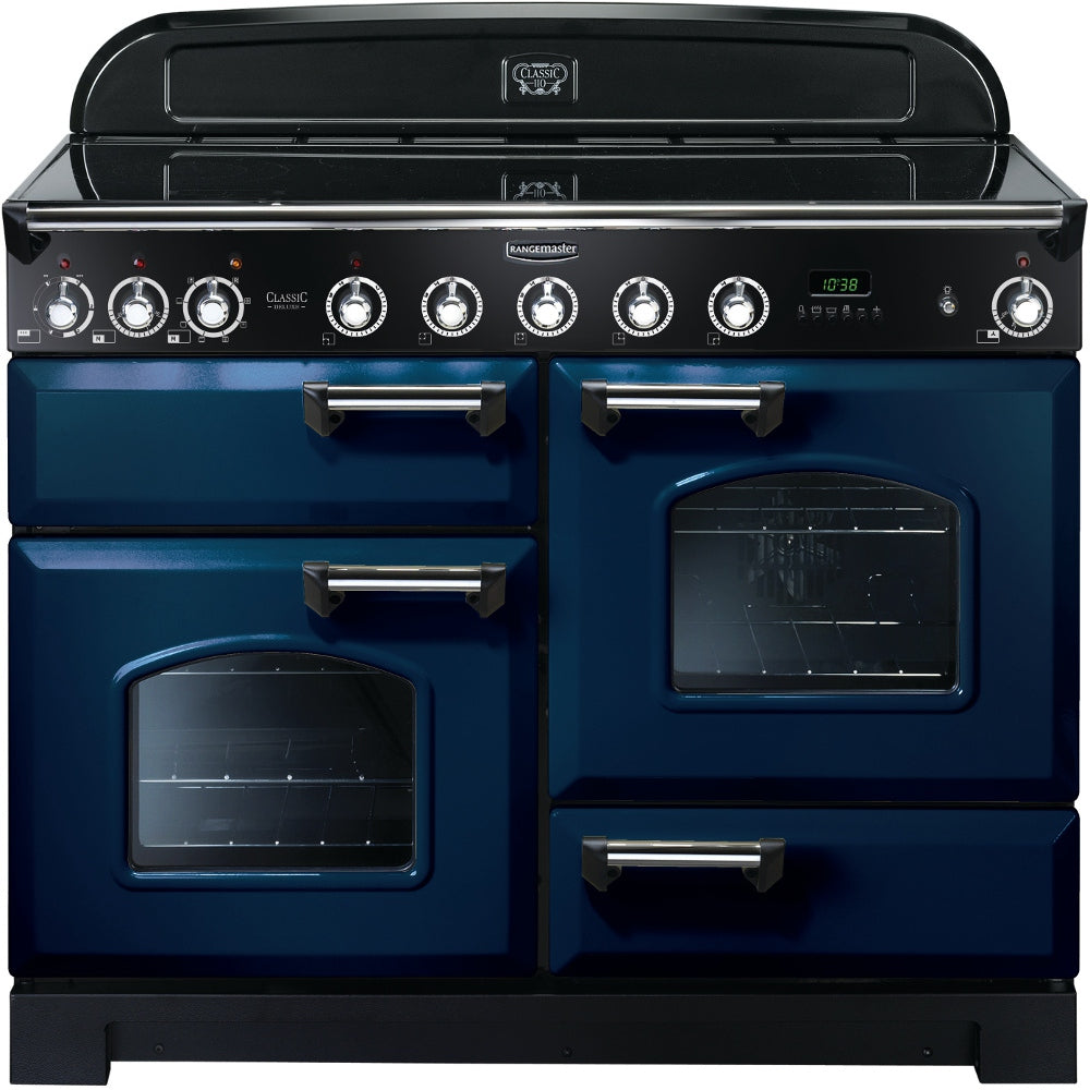 Rangemaster Classic Deluxe CDL110EIRB/C 110cm Electric Range Cooker with Induction Hob - Blue/Chrome Trim