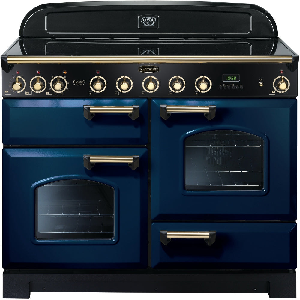 Rangemaster Classic Deluxe CDL110EIRB/B 110cm Electric Range Cooker with Induction Hob - Blue/Brass Trim
