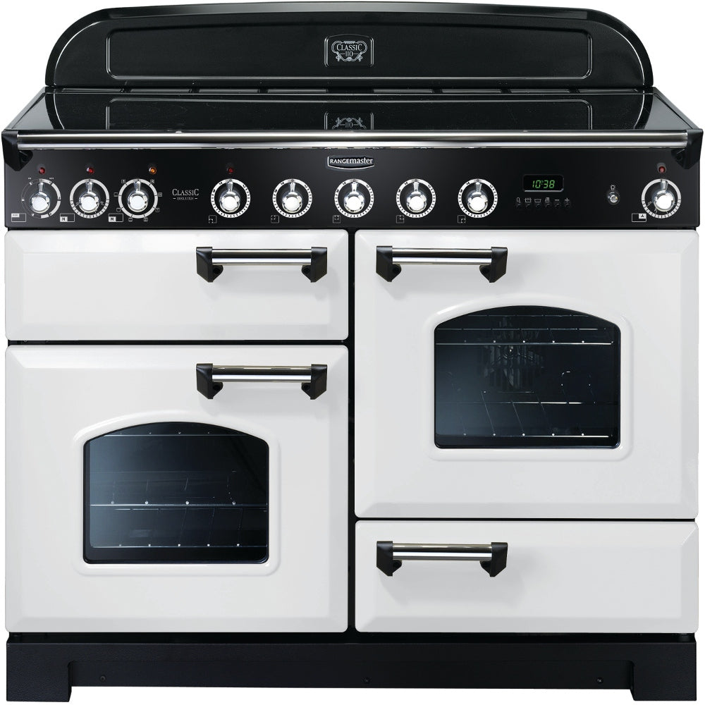 Rangemaster Classic Deluxe CDL110EIWH/C 110cm Electric Range Cooker with Induction Hob - White/Chrome Trim