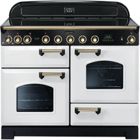 Rangemaster Classic Deluxe CDL110EIWH/B 110cm Electric Range Cooker with Induction Hob - White/Brass Trim
