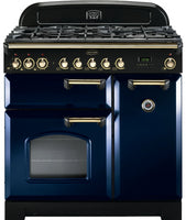 Rangemaster Classic Deluxe CDL90DFFRB/B 90cm Dual Fuel Range Cooker - Blue/Brass Trim