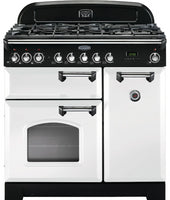 Rangemaster Classic Deluxe CDL90DFFWH/C 90cm Dual Fuel Range Cooker - White/Chrome Trim