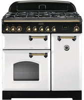 Rangemaster Classic Deluxe CDL90DFFWH/B 90cm Dual Fuel Range Cooker - White/Brass Trim