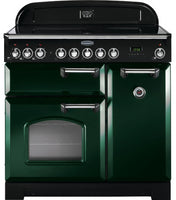 Rangemaster Classic Deluxe CDL90EIRG/C 90cm Electric Range Cooker with Induction Hob - Green/Chrome Trim