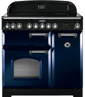 Rangemaster Classic Deluxe CDL90EIRB/C 90cm Electric Range Cooker with Induction Hob - Blue/Chrome Trim