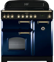 Rangemaster Classic Deluxe CDL90EIRB/B 90cm Electric Range Cooker with Induction Hob - Blue/Brass Trim