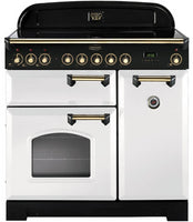 Rangemaster Classic Deluxe CDL90EIWH/B 90cm Electric Range Cooker with Induction Hob - White/Brass Trim