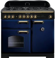 Rangemaster Classic Deluxe CDL100DFFRB/B 100cm Dual Fuel Range Cooker - Blue/Brass Trim