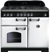 Rangemaster Classic Deluxe CDL100DFFWH/C 100cm Dual Fuel Range Cooker - White/Chrome Trim