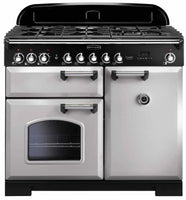 Rangemaster Classic Deluxe CDL100DFFRP/B 100cm Dual Fuel Range Cooker - Royal Pearl/Brass Trim