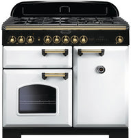 Rangemaster Classic Deluxe CDL100DFFWH/B 100cm Dual Fuel Range Cooker - White/Brass Trim