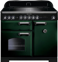 Rangemaster Classic Deluxe CDL100EIRG/C 100cm Electric Range Cooker with Induction Hob - Greeen/Chrome Trim