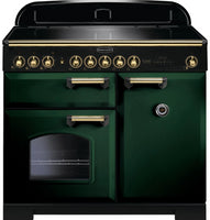 Rangemaster Classic Deluxe CDL100EIRG/B 100cm Electric Range Cooker with Induction Hob - Green/Brass Trim
