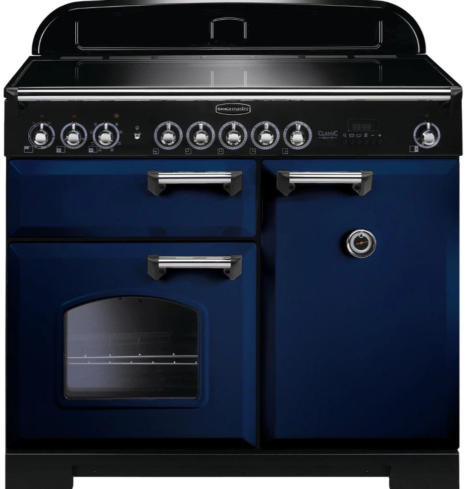 Rangemaster Classic Deluxe CDL100EIRB/C 100cm Electric Range Cooker with Induction Hob - Blue/Chrome Trim