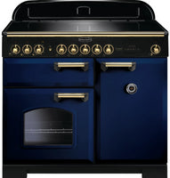 Rangemaster Classic Deluxe CDL100EIRB/B 100cm Electric Range Cooker with Induction Hob - Blue/Brass Trim