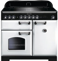 Rangemaster Classic Deluxe CDL100EIWH/C 100cm Electric Range Cooker with Induction Hob - White/Chrome Trim
