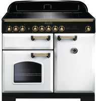 Rangemaster Classic Deluxe CDL100EIWH/B 100cm Electric Range Cooker with Induction Hob - White/Brass Trim