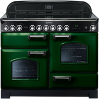 Rangemaster Classic Deluxe CDL110ECRG/C 110cm Electric Range Cooker with Ceramic Hob - Green/Chrome Trim