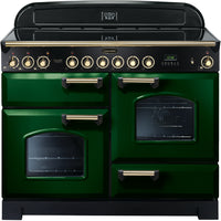 Rangemaster Classic Deluxe CDL110ECRG/B 110cm Electric Range Cooker with Ceramic Hob - Green/Brass Trim