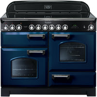 Rangemaster Classic Deluxe CDL110ECRB/C 110cm Electric Range Cooker with Ceramic Hob - Blue/Chrome Trim