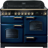Rangemaster Classic Deluxe CDL110ECRB/B 110cm Electric Range Cooker with Ceramic Hob - Blue/Brass Trim