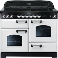 Rangemaster Classic Deluxe CDL110ECWH/C 110cm Electric Range Cooker with Ceramic Hob - White/Chrome Trim