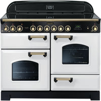 Rangemaster Classic Deluxe CDL110ECWH/B 110cm Electric Range Cooker with Ceramic Hob - White/Brass Trim
