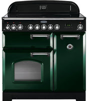 Rangemaster Classic Deluxe CDL90ECRG/C 90cm Electric Range Cooker with Ceramic Hob - Green/Chrome Trim