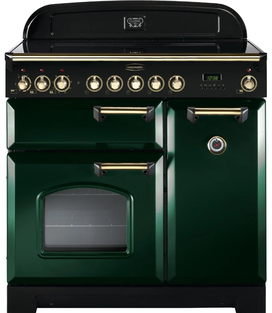 Rangemaster Classic Deluxe CDL90ECRG/B 90cm Electric Range Cooker with Ceramic Hob - Green/Brass Trim