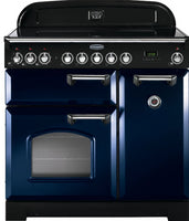 Rangemaster Classic Deluxe CDL90ECRB/C 90cm Electric Range Cooker with Ceramic Hob - Blue/Chrome Trim