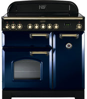 Rangemaster Classic Deluxe CDL90ECRB/B 90cm Electric Range Cooker with Ceramic Hob - Blue/Brass Trim
