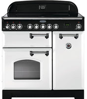 Rangemaster Classic Deluxe CDL90ECWH/C 90cm Electric Range Cooker with Ceramic Hob - White/Chrome Trim
