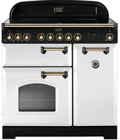 Rangemaster Classic Deluxe CDL90ECWH/B 90cm Electric Range Cooker with Ceramic Hob - White/Brass Trim