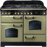 Rangemaster Classic Deluxe CDL110DFFOG/B 110cm Dual Fuel - Olive Green/Brass Trim