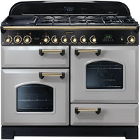 Rangemaster Classic Deluxe CDL110DFFRP/B 110cm Dual Fuel Range Cooker - Royal Pearl/Brass Trim