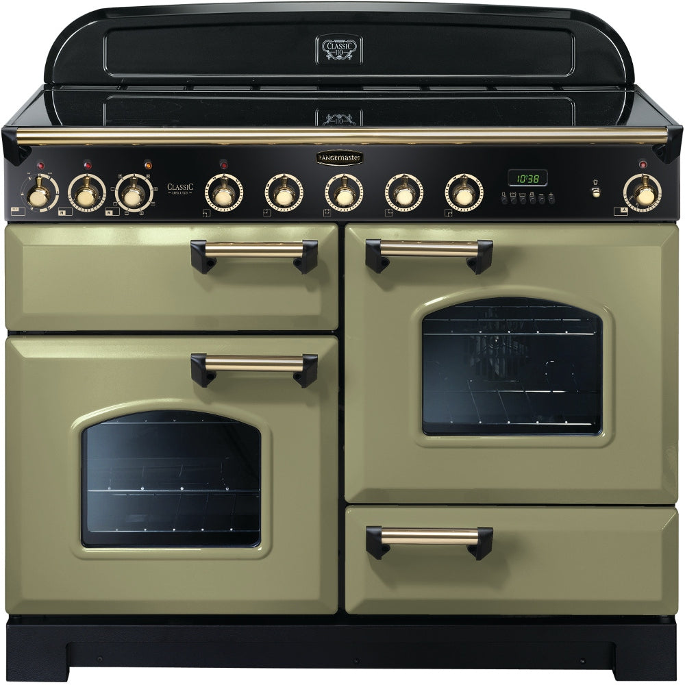 Rangemaster Classic Deluxe CDL110EIOG/B 110cm Electric Range Cooker with Induction Hob - Olive Green/Brass Trim