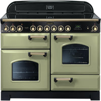 Rangemaster Classic Deluxe CDL110ECOG/B 110cm Electric Range Cooker with Ceramic Hob - Olive Green/Brass Trim