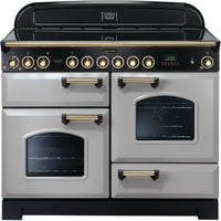Rangemaster Classic Deluxe CDL110ECRP/B 110cm Electric Range Cooker with Ceramic Hob - Royal Pearl/Brass Trim