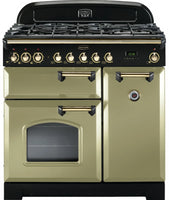 Rangemaster Classic Deluxe CDL90DFFOG/B 90cm Dual Fuel Range Cooker - Olive Green/Brass Trim